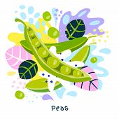 Fresh Green Peas Vegetable Juice Splash Organic Food Juicy Vegetables Splatter On Abstract Coloful S poster