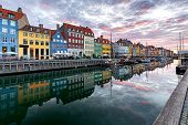 Copenhagen. Nyhavn Canal, Colorful Houses And City Embankment At Sunrise. poster