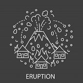 Eruption Natural Disaster Circle Banner In Linear Style. Black And White Compositions Of Thunderstor poster