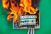 Bad Electrical Wiring System In Electrical Switchboard Became The Cause Of Fire. A Faulty Circuit Br poster