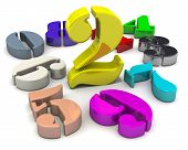 Number Two In The Middle Of Numbers. 3d Colorful Numbers Lying On White Background With  The Number  poster