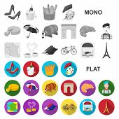 Country France Flat Icons In Set Collection For Design. France And Landmark Bitmap Symbol Stock Web  poster