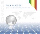 Mapa de mundo y el mundo con paneles solares fotovoltaicos - fondo de electricidad