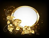 Oval Banner With Gold Frame Adorned With Gold, Jeweled, Intertwined Roses With Gold Leafs On Black B poster