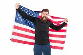 I Got The Usa Flag Over My Heart Cause Im Patriotic. Patriotic Hipster Holding American Flag On Whit poster