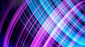 Blue And Ultraviolet Neon Glowing Round Lines Rotating On Black Background. Animation. Shining Neon  poster