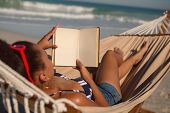 Rear view of African american woman reading a book while relaxing on hammock on beach in the sunshin poster