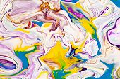 Purple And Yellow Vibrant Abstract Marbled Texture. Vibrant, Colorful, Liquid, Fluid Art Background. poster