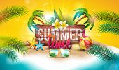 Vector Summer Time Holiday Illustration With Typography Letter On Vintage Wood Board Background. Tro poster