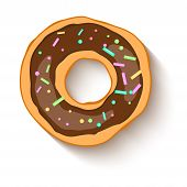 Donut With A Chocolate  Icing Sprinkled With Grains. Realistic Colorful Donut On White Sprinkled Wit poster