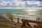 Lake Michigan Beach. Beautiful Beach On The Coast Of Lake Michigan On A Sunny Beach In The Upper Pen poster