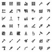 Construction And Home Repair Tool Vector Icons Set, Modern Solid Symbol Collection, Filled Style Pic poster