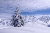 stock photo of psychodelic  - Winter Landscape at Sonnenkopf in Klostertal - JPG