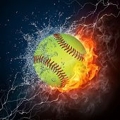 Baseball Ball on Fire and Water. 2D Graphics. Computer Design.