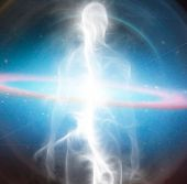 Spirit emerges from space. Soul or Aura. 3D rendering poster