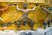 Guards Of The Temple Of The Emerald Buddha, Wat Phra Kaeo In The Grand Palace, Bangkok