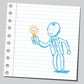 foto of hand drawn  - Businessman holding lightbulb - JPG