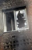 Window Of A House After The Fire.