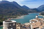 picture of apennines  - Landscape with Lake Barrea in Abruzzo - JPG