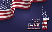 4th Of July Happy Independence Day Of America . Statue Of Liberty With Text And Waving American Flag poster