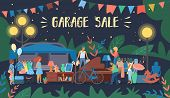 Invitation Flyer Is Written Garage Sale Cartoon. Retro Poster Night Sale Second Things And Furniture poster