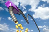 Dollar signs dripping out of a purple fuel nozzle