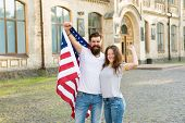 American Couple Usa Flag. Patriotic Spirit. Independence Day. American Tradition. Students Exchange  poster