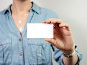 Female Hand Hold Blank White Card Mockup. Plain Call-card Mock Up Template Holding Woman Arm. Caucas poster