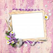 Retro Photo Framework With Flowers