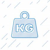 Blue Weight Line Icon Isolated On White Background. Kilogram Weight Block For Weight Lifting And Sca poster