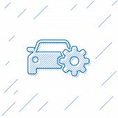 Blue Car Service Line Icon Isolated On White Background. Auto Mechanic Service. Mechanic Service. Re poster