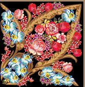 illustration with flower decoration on black background