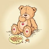 stock photo of teddy-bear  - Hand drawn cute Teddy Bear eating cookies - JPG