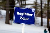 Blue Beginner Zone Sign On The Ski Slopes