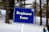 Blue Beginner Zone Sign On The Ski Slopes