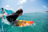 Young woman surfer takes off and starts riding the ocean tropical wave. The surf spot named Chickens poster