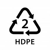 Recycle Arrow Triangle Hdpe Types 2 Isolated On White Background, Symbology Two Type Logo Of Plastic poster