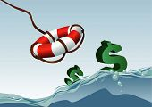 stock photo of lifeline  - Abstract vector illustration of dollar symbols being saved by a lifeline - JPG