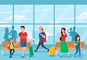 Busy Airport Terminal. Business Travelers, Family Vacations Travel And Traveler Waiting At Airports  poster