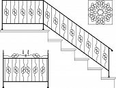 Wrought iron stairs, gate, picket, grill