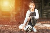 Beautiful Kid Smile With Braces.young Hipster Teenager Girl Sit With Electric Hover Board, Dual Whee poster