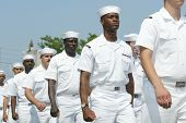 NEW YORK - MAY 29:  U.S. sailors march in the Little Neck/Douglaston Memorial Day Parade May 29, 200