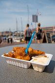 Delicious Fried Kibbling Fish And Sauce At Scheveningen Harbor Cafe In The Netherlands On Warm Sunny poster