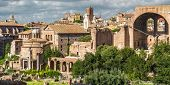 Roman Forum View, Rome, Italy. Forum Is A Famous Tourist Attraction Of Rome. Landscape With Ruins Of poster