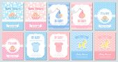 Baby Shower Invite Card. Vector. Baby Boy Girl Template Invitation. Welcome Banner. Cute Blue, Pink  poster