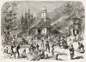 Polish insurgents burning Greek church in Navahrudak (formerly Lithuania, at present days Belarus). Created by Godefroy-Durand, published on L'Illustration, Journal Universel, Paris, 1863