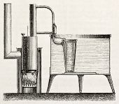 Domestic cooling apparatus old schematic illustration. Created by Bourdelin, published on L'Illustra