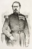General Isidor Garnier old engraved portrait (Wounded during Puebla attack, French intervention in Mexico). Created by Janet-Lange after photo of Legray, published on L'Illustration, Paris, 1863