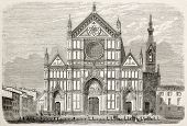 Basilica of Santa Croce restoration old illustration, Florence, Italy. Created by Deroy, published on L'Illustration, Journal Universel, Paris, 1863