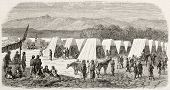 Turcos encampment in Toulon, France, old illustration (Corps of Algerian riflemen in French army).